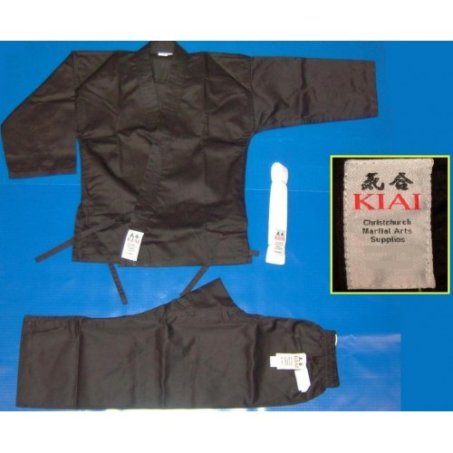 KIAI Karate & Hapkido Uniform - Black - PolyCotton