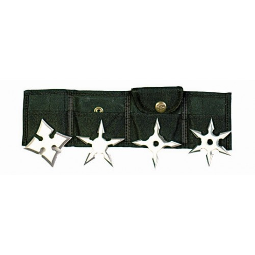 Shuriken Set of 4 sharp steel different shaped stars